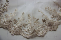 3 Yards of 16cm Vintage Golden Line Floral Branch Embroidery Lace Fabric Trim