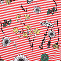 140cm Width x 95cm Length Butterfly and Flowers and Strips Pattern Print Cotton Fabric