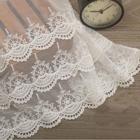 "15"" Width Vintage 3-Tiered Floral Embroidery Lace Fabric Skirt Hem by the Yard"