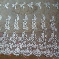 "17"" Width Dandelion Floral Embroidery Lace Fabric by the Yard"