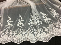 Premium Branch Flower Cotton Embroidery Lace Fabric by The Yard (105cm Width