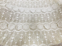 "49"" Width 3D Parallel Floral Embroidery Cotton Fabric by The Yard"