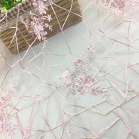 130cm Width x 90cm Length Pink Floral Embroidery Lace Fabric