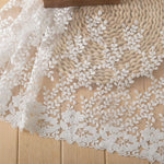 2 Yards of 35cm Width Premium Floral Leaf Branches Embroidery Wedding Lace Fabric