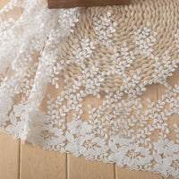 2 Yards of 31cm Width Premium Floral Leaf Branches Embroidery Wedding Lace Fabric