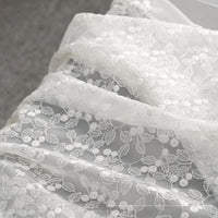 "57"" Width Organza Leaf Floral Embroidery Lace Fabric by The Yard"