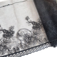3 Yards of 23cm Width DIY Craft Lace Black Gauze Lace Floral Embroidery Fabric Trim