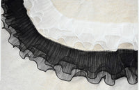 3 Yards by 12cm Width of 3 Layers Ruffle Lace Trim with Pleated Folds