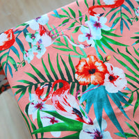 145cm Width Tropical Flowers and Foliage and Flamingo Birds Print Cotton Canvas Fabric Pink by the Yard