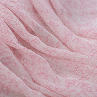 "43"" Width Pink Fairy Jojoe Crimping Silk Chiffon Floral Print Fabric by the Yard"