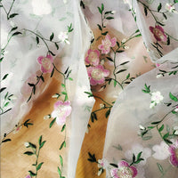 150cm Width x 1 Yard Length Premium Vivid Floral Branch Pattern Embroidery Organza Lace Fabric