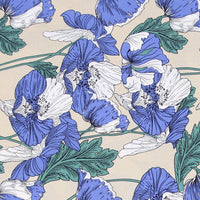 140cm Width Blue Style Botanical Floral Print Fabric by the Yard