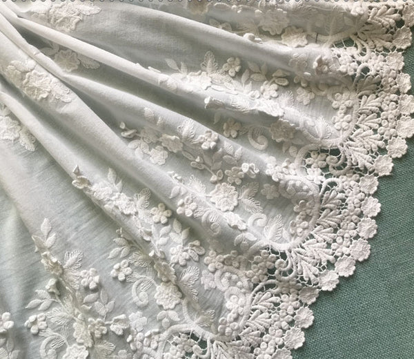 "51"" Width Premium Vintage 3D Floral Embroidery Lace Fabric by the Yard"