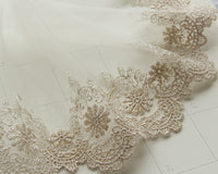 "3 Yards of 4"" Width Golden Line Daisy Floral Embroidery Lace Fabric Trim"