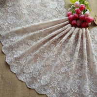 2 Yards of 27cm Width Delicate Floral Embroidery Lace Trim