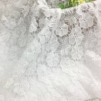 140cm Width Chiffon Floral Embroidery Lace Fabric by the Yard