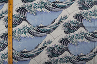 140cm Width Japanese The Great Wave Print Cotton Fabric by the Yard