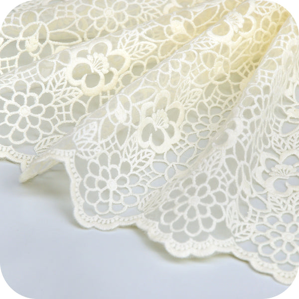 2 Yards of 27cm Width Hollow out Floral Embroidery Lace Fabric Trim