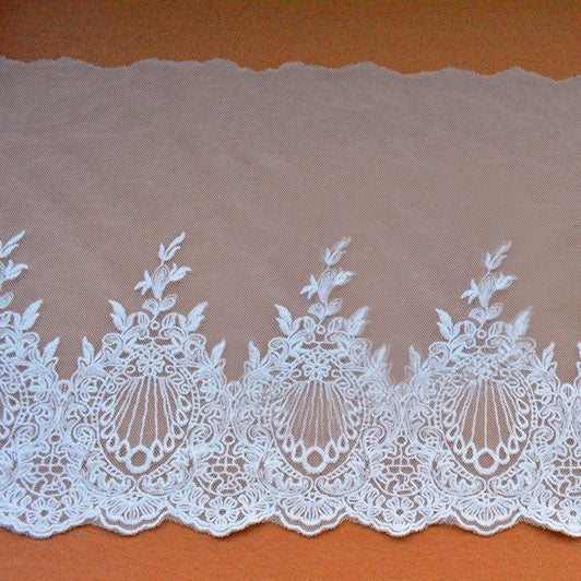 3 Yards Of 23cm Width Vintage Floral Embroidery Sewing Lace Trim