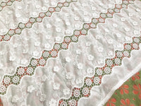 "49"" Width 3D Hollow Out Floral Embroidery Cotton Fabric by The Yard"