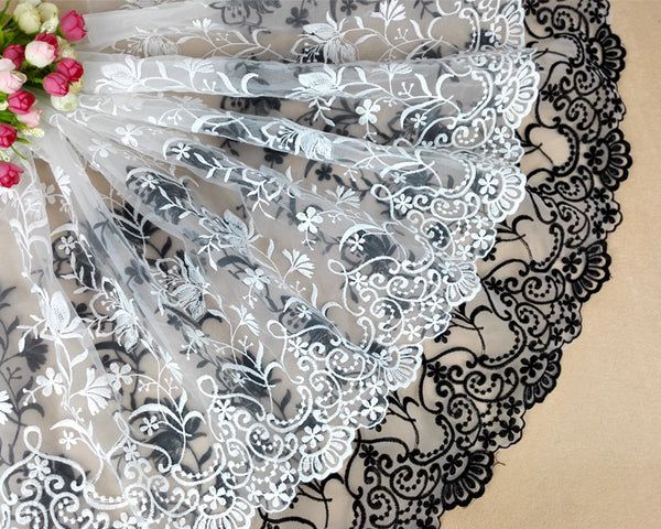 2 Yards of 42cm Width Organza Floral Branch Embroidery Lace Fabric Trim