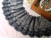 27cm Width x 300cm Length Feather-like Eyelash Embroidery Lace Fabric Trim