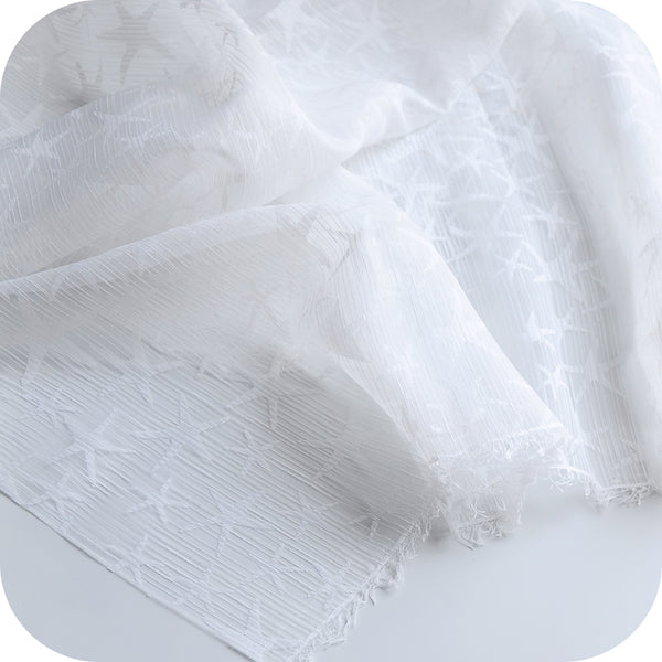 "55"" Width See-through Organza Lace Fabric with Stars by the Yard"