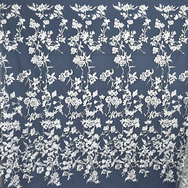 "53"" Width Premium Vine Branches Flowers Embroidery Bridal Veil Wedding Lace Fabric by the Yard"