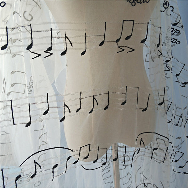 "51"" Width Musical Notes Embroidered Silver Lining Haute Couture Fabric by The Yard"