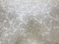 130cm Width Length Vintage Vine Floral Embroidery Cotton Fabric by the Yard