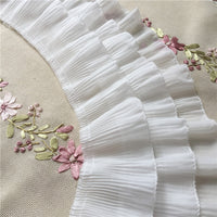 2 Yards 12cm Width 3-Layer Tiered Ruffle Pleated Chiffon Lace Fabric