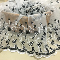 "53"" Width Organza Bilateral Symmetrical Jacquard Floral Lace Embroidered Fabric by The Yard"