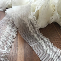 3 Yards of 8.5cm Width Floral Embroidery Pleated Lace Trim