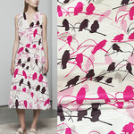 140cm Width x 95cm Length Premium Birds on Branches Silk Fabric