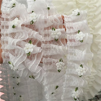 2 Yards of 4cm Width Pure White Embroidery Lace Fabric Trim with 3D Flowers