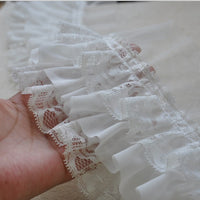 2 Yards of 9cm Width 3-layer Floral Embroidery Ruffled Chiffon Lace Fabric Trim