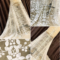 "53"" Width Leaf Clusters Embroidery Wedding Bridal Lace Fabric by the Yard"