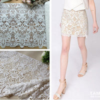 45cm Width x 95cm Length Vintage Water Soluble Hollow-out Floral Embroidery Lace Fabric Trim
