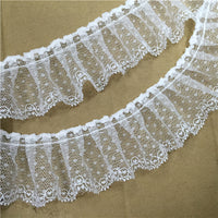3 Yards of 5cm Width Pleated Ruffle Lace Trim with Dots