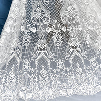 "51"" Width Classical European Style Wedding Lace Bridal Veil Lace Fabric by the Yard"