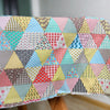 "59"" Width Geometric Triangle Block Colorful Floral Bontanical Cotton Linen Fabric by the Yard"