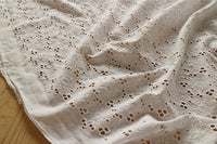 130cm Width Poppy Flower Embroidery Eyelet Cotton Lace Fabric by the Yard