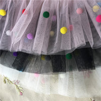 17cm width Handmade Ruffled Tulle Lace Trim with Color Balls by the Yard