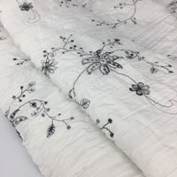 130cm Width Length Black and White Floral and Vine Embroidery Fabric by the Yard