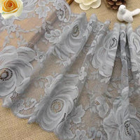 3 Yards of 25cm Premium Gray Stretch Floral Lace Fabric Trim