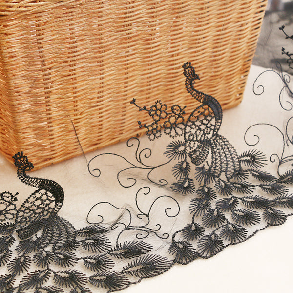 32cm Width x 270cm Length Peacock Pattern Embroidery Lace Fabric