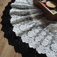 "3 Yards of 8"" Width Floral Embroidery Lace Fabric Mesh Lace Trim"