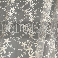 "53"" width Transparent Embroidery Vine Floral Lace Fabric by the Yard"