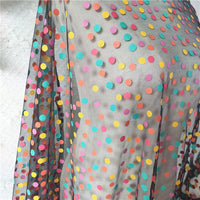 150cm Width x 95cm Length Premium Flocked Colorful Polka Dot Tulle Lace Fabric