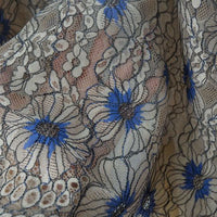 150cm Width x 150cm Length Premium Colorful Eyelash Poppy Floral Embroidery Lace Fabric